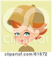 Royalty Free RF Clipart Illustration Of A Little Red Haired Girl Wearing A Baseball Cap