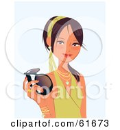 Royalty Free RF Clipart Illustration Of A Young Asian Beauty Smiling And Holding Sunglasses