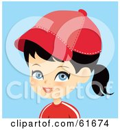 Royalty Free RF Clipart Illustration Of A Blue Eyed Black Haired Girl Wearing A Baseball Cap