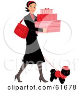 Royalty Free RF Clipart Illustration Of A Young Lady Walking Her Dog While Shopping And Carrying Feminine Boxes