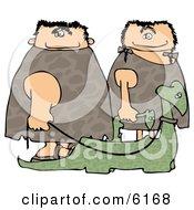 Caveman And Cavewoman Walking Their Pet Dinosaurs