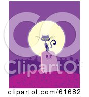 Royalty Free RF Clipart Illustration Of A Black Cat On A Tombstone In Front Of A Full Moon On A Purple Night by Monica