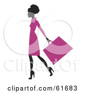 Royalty Free RF Clipart Illustration Of A Silhouetted African American Woman In A Pink Dress Carrying A Shopping Bag