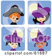 Royalty Free RF Clipart Illustration Of A Digital Collage Of Halloween Boys In Girls In Witch And Pirate Costumes by Monica