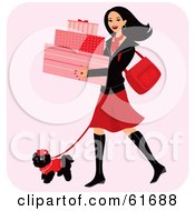 Royalty Free RF Clipart Illustration Of A Happy Woman Carrying Boxes And Walking Her Dog While Shopping by Monica