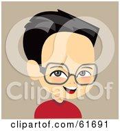Little Asian Boy Wearing Glasses