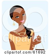 Royalty Free RF Clipart Illustration Of A Beautiful Black Woman Wearing A Beige Top And Holding A Purse by Monica #COLLC61692-0132