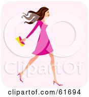 Royalty Free RF Clipart Illustration Of A Fashionable Brunette Woman Walking And Carrying A Clutch Purse by Monica #COLLC61694-0132