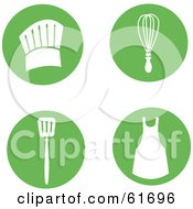 Royalty Free RF Clipart Illustration Of A Digital Collage Of Four Green Round Chef Icons by Monica