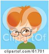 Little Red Haired Caucasian Boy Wearing Glasses
