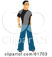 Friendly Casual Caucasian Man Wearing Jeans And A Black Shirt