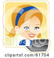 Royalty Free RF Clipart Illustration Of A Little Blond Girl Using A Laptop by Monica