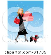 Pretty Woman Carrying Boxes And Walking Her Poodle In The Snow