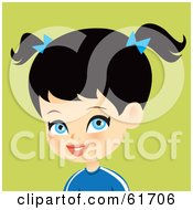 Royalty Free RF Clipart Illustration Of A Blue Eyed Black Haired Girl Wearing A Blue Shirt And Bows In Her Pig Tails