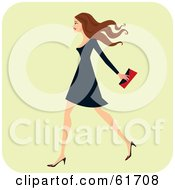 Royalty Free RF Clipart Illustration Of A Fashionable Brunette Woman Walking And Carrying A Clutch Purse by Monica