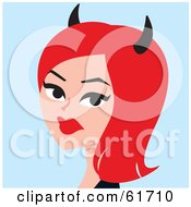 Royalty Free RF Clipart Illustration Of A She Devil Woman With Red Hair And Black Horns by Monica