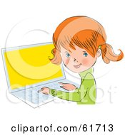 Royalty Free RF Clipart Illustration Of A Cute Little Red Head Caucasian Girl Looking Back While Using A Laptop by Monica