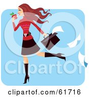 Royalty Free RF Clipart Illustration Of A Late Young Businesswoman Eating An Apple And Dropping Paper Work From Her Briefcase
