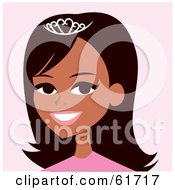 Royalty Free RF Clipart Illustration Of A Pretty Hispanic Woman Wearing A Tiara And Smiling by Monica