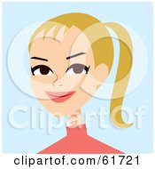 Royalty Free RF Clipart Illustration Of A Friendly Blond Woman Wearing Her Hair In A Pony Tail