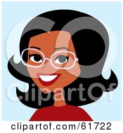Royalty Free RF Clipart Illustration Of A Friendly African American Woman Wearing Glasses And Smiling