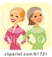 Royalty Free RF Clipart Illustration Of A Female Business Team Or Competitors Standing Back To Back by Monica
