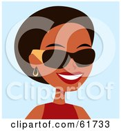 Royalty Free RF Clipart Illustration Of A Friendly African American Woman Wearing Shades And Smiling