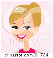 Royalty Free RF Clipart Illustration Of A Pretty Blond Beauty Pageant Winner Wearing A Tiara by Monica