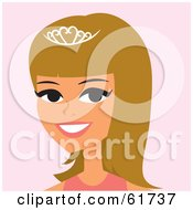 Royalty Free RF Clipart Illustration Of A Pretty Blond Princess Wearing A Tiara by Monica