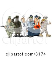 People Enlisted In The Different Branches Of The United States Military Clipart Picture by djart #COLLC6174-0006