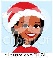 Friendly African American Woman Wearing A Santa Hat