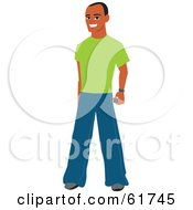Friendly Casual African American Man Wearing Jeans And A Green Shirt