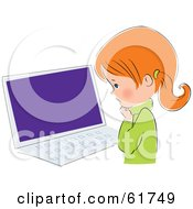 Royalty Free RF Clipart Illustration Of A Cute Little Red Head Caucasian Girl Standing Before A Laptop by Monica