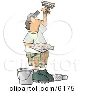 Drywall Installer Using Joint Compound And Fiberglass Tape Clipart Picture by djart #COLLC6175-0006