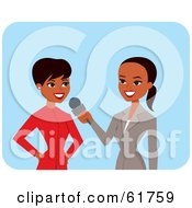 Royalty Free RF Clipart Illustration Of A Friendly African American News Reporter Interviewing Another Woman
