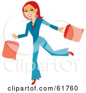 Royalty Free RF Clipart Illustration Of A Running Redhead Woman Carrying Shopping Bags