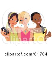 Three Young Fashionable Diverse Girlfriends Posing And Smiling