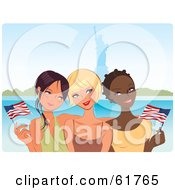 Three Young Diverse Girlfriends Waving American Flags Near The Statue Of Liberty
