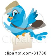 Royalty Free RF Clipart Illustration Of A Blue Mail Delivery Bird Carrying A Letter