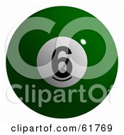 Royalty Free RF Clipart Illustration Of A 3d Billiard Pool Ball Solid Green 6 by ShazamImages