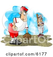 Poster, Art Print Of Little League Baseball Pitcher And Batter