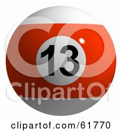Royalty Free RF Clipart Illustration Of A 3d Billiard Pool Ball Orange Stripe 13 by ShazamImages