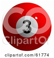 Royalty Free RF Clipart Illustration Of A 3d Billiard Pool Ball Solid Red 3 by ShazamImages