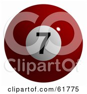 Royalty Free RF Clipart Illustration Of A 3d Billiard Pool Ball Solid Red 7 by ShazamImages