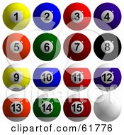 Royalty Free RF Clipart Illustration Of A Digital Collage Of 3d Billiard Pool Balls Solids And Stripes by ShazamImages #COLLC61776-0133