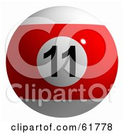 Royalty Free RF Clipart Illustration Of A 3d Billiard Pool Ball Red Stripe 11 by ShazamImages