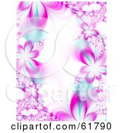 Royalty Free RF Clipart Illustration Of A Background Of Pink Flower Fractals With Blue Accents Around White