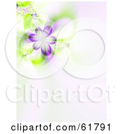 Royalty Free RF Clipart Illustration Of A 3d Purple Spring Flower Fractal Background With Copyspace Version 2