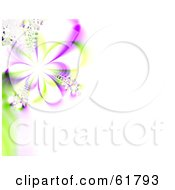 Royalty Free RF Clipart Illustration Of A 3d Purple Spring Flower Fractal Background With Copyspace Version 1