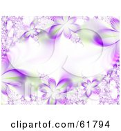 Royalty Free RF Clipart Illustration Of A Horizontal Background Of Purple Flower Fractals With Green Accents by ShazamImages